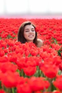 happy woman tulips